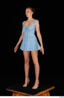Stacy Cruz beige high heels blue short dress casual dressed whole body 0002.jpg
