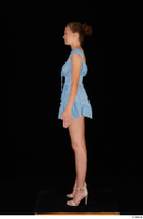 Stacy Cruz beige high heels blue short dress casual dressed whole body 0003.jpg