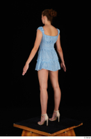 Stacy Cruz beige high heels blue short dress casual dressed whole body 0004.jpg