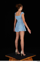 Stacy Cruz beige high heels blue short dress casual dressed whole body 0006.jpg