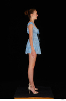 Stacy Cruz beige high heels blue short dress casual dressed whole body 0007.jpg