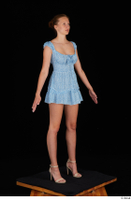 Stacy Cruz beige high heels blue short dress casual dressed whole body 0008.jpg