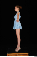 Stacy Cruz beige high heels blue short dress casual dressed whole body 0011.jpg