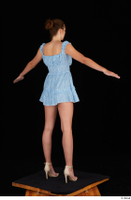 Stacy Cruz beige high heels blue short dress casual dressed whole body 0014.jpg