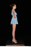 Stacy Cruz beige high heels blue short dress casual dressed whole body 0015.jpg