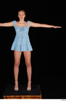 Stacy Cruz beige high heels blue short dress casual dressed t poses whole body 0001.jpg
