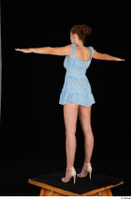 Stacy Cruz beige high heels blue short dress casual dressed t poses whole body 0004.jpg