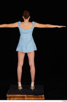 Stacy Cruz beige high heels blue short dress casual dressed t poses whole body 0005.jpg