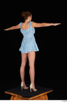 Stacy Cruz beige high heels blue short dress casual dressed t poses whole body 0006.jpg