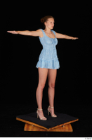 Stacy Cruz beige high heels blue short dress casual dressed t poses whole body 0008.jpg