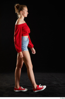 Stacy Cruz  1 blue jeans shorts casual dressed red off shoulder top red sneakers walking whole body 0001.jpg