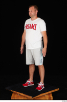 Louis dressed grey shorts red sneakers sports standing white t shirt whole body 0002.jpg