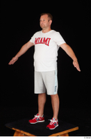 Louis dressed grey shorts red sneakers sports standing white t shirt whole body 0010.jpg
