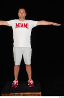 Louis dressed grey shorts red sneakers sports standing t poses white t shirt whole body 0001.jpg