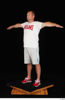 Louis dressed grey shorts red sneakers sports standing t poses white t shirt whole body 0002.jpg