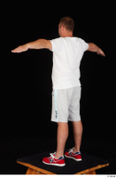 Louis dressed grey shorts red sneakers sports standing t poses white t shirt whole body 0004.jpg