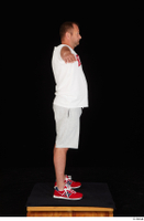 Louis dressed grey shorts red sneakers sports standing t poses white t shirt whole body 0007.jpg