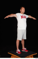 Louis dressed grey shorts red sneakers sports standing t poses white t shirt whole body 0008.jpg