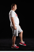 Louis  2 grey shorts red sneakers sports walking white t shirt whole body 0003.jpg