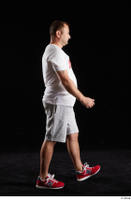 Louis  2 grey shorts red sneakers sports walking white t shirt whole body 0004.jpg