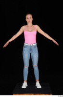 Vinna Reed blue jeans casual pink bodysuit standing white sneakers whole body 0003.jpg