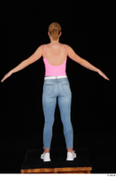 Vinna Reed blue jeans casual pink bodysuit standing white sneakers whole body 0007.jpg