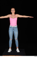 Vinna Reed blue jeans casual pink bodysuit standing t poses white sneakers whole body 0001.jpg