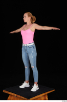 Vinna Reed blue jeans casual pink bodysuit standing t poses white sneakers whole body 0002.jpg