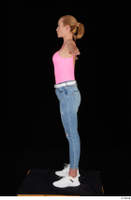 Vinna Reed blue jeans casual pink bodysuit standing t poses white sneakers whole body 0003.jpg