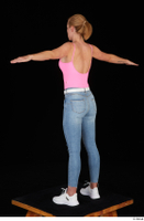 Vinna Reed blue jeans casual pink bodysuit standing t poses white sneakers whole body 0004.jpg