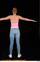 Vinna Reed blue jeans casual pink bodysuit standing t poses white sneakers whole body 0005.jpg