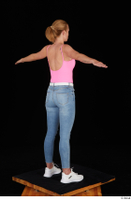 Vinna Reed blue jeans casual pink bodysuit standing t poses white sneakers whole body 0006.jpg