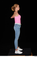 Vinna Reed blue jeans casual pink bodysuit standing t poses white sneakers whole body 0007.jpg