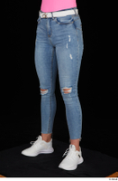 Vinna Reed blue jeans casual dressed leg lower body white sneakers 0002.jpg