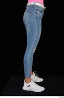 Vinna Reed blue jeans casual dressed leg lower body white sneakers 0007.jpg