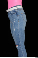 Vinna Reed blue jeans casual dressed thigh white belt 0003.jpg