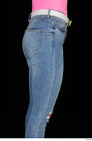 Vinna Reed blue jeans casual dressed thigh white belt 0007.jpg