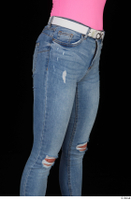 Vinna Reed blue jeans casual dressed thigh white belt 0008.jpg