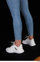 Vinna Reed blue jeans calf casual dressed white sneakers 0004.jpg