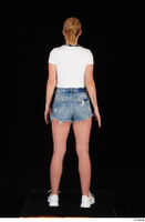 Vinna Reed blue jeans shorts dressed sports standing white sneakers white t shirt whole body 0005.jpg