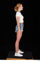 Vinna Reed blue jeans shorts dressed sports standing white sneakers white t shirt whole body 0007.jpg
