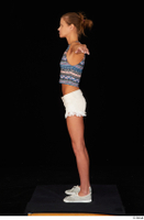 Sarah Kay casual dressed grey sneakers silver grey sneakers standing t poses tank top white shorts whole body 0003.jpg