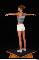 Sarah Kay casual dressed grey sneakers silver grey sneakers standing t poses tank top white shorts whole body 0004.jpg
