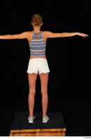 Sarah Kay casual dressed grey sneakers silver grey sneakers standing t poses tank top white shorts whole body 0005.jpg