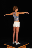 Sarah Kay casual dressed grey sneakers silver grey sneakers standing t poses tank top white shorts whole body 0006.jpg