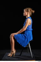 Sarah Kay  1 blue dress brown high heels casual dressed sitting whole body 0001.jpg