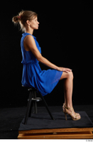 Sarah Kay  1 blue dress brown high heels casual dressed sitting whole body 0005.jpg