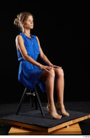 Sarah Kay  1 blue dress brown high heels casual dressed sitting whole body 0006.jpg