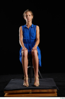Sarah Kay  1 blue dress brown high heels casual dressed sitting whole body 0007.jpg