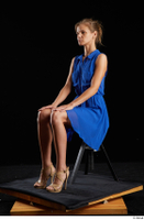 Sarah Kay  1 blue dress brown high heels casual dressed sitting whole body 0008.jpg